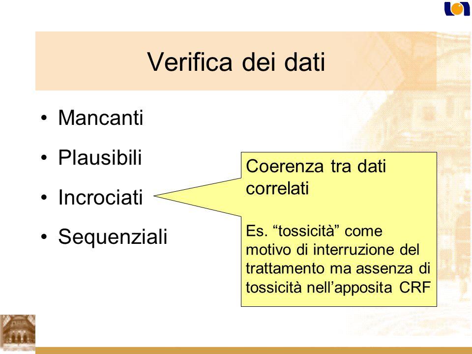Mancanti Plausibili Incrociati Sequenziali Coerenza tra dati correlati Es.
