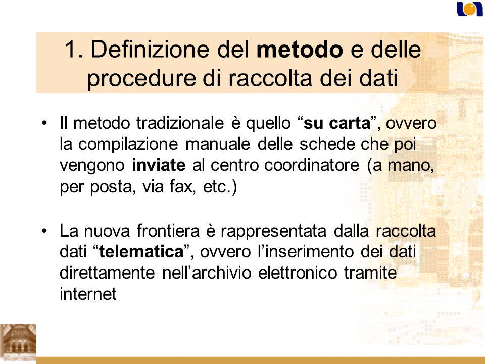 1. Definizione del metodo e delle procedure di raccolta dei dati Il metodo tradizionale è quello su carta, ovvero la compilazione manuale delle schede