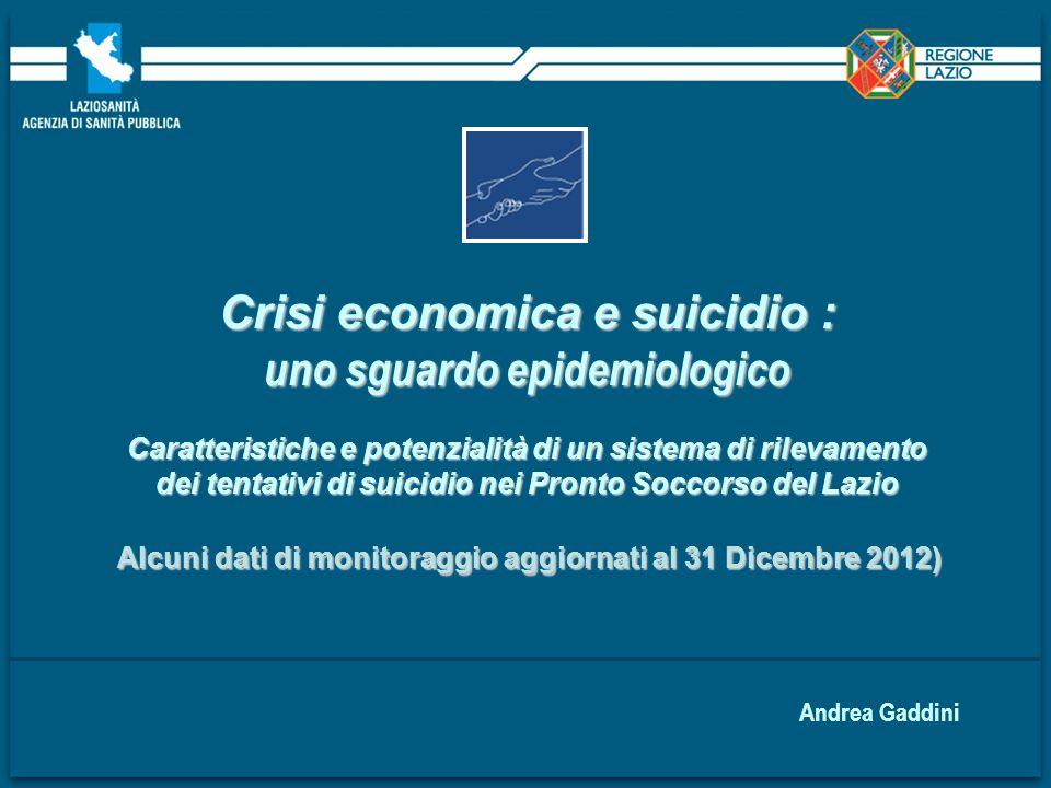 Crisi economica e suicidio : uno sguardo epidemiologico Caratteristiche e potenzialità di un sistema di rilevamento dei tentativi di suicidio nei Pron
