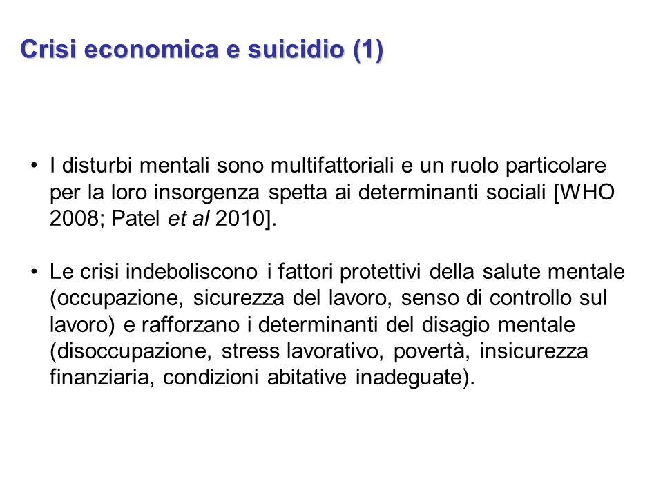 I disturbi mentali sono multifattoriali e un ruolo particolare per la loro insorgenza spetta ai determinanti sociali [WHO 2008; Patel et al 2010]. Le