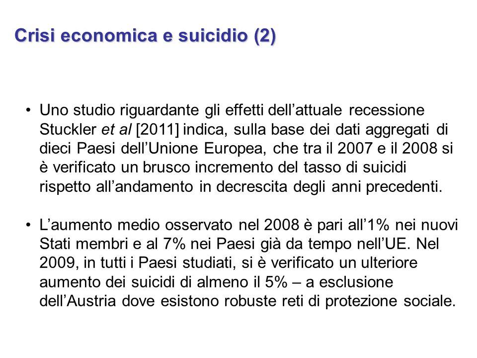 Anche in Italia, dove il tasso di suicidi è tra i più bassi in Europa e da decenni in progressivo decremento, si è verificato un aumento dei suicidi per ragioni economiche (dal 2007 al 2010 cumulativamente pari al 58% secondo il rapporto EU.RE.S 2012, soprattutto da parte di disoccupati e di imprenditori e professionisti).