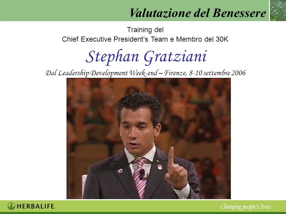 Valutazione del Benessere Changing peoples lives Training del Chief Executive Presidents Team e Membro del 30K Stephan Gratziani Dal Leadership Develo