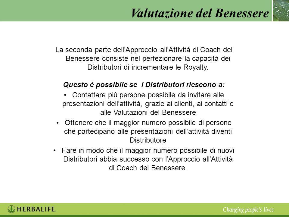 Valutazione del Benessere Changing peoples lives La seconda parte dellApproccio allAttività di Coach del Benessere consiste nel perfezionare la capaci