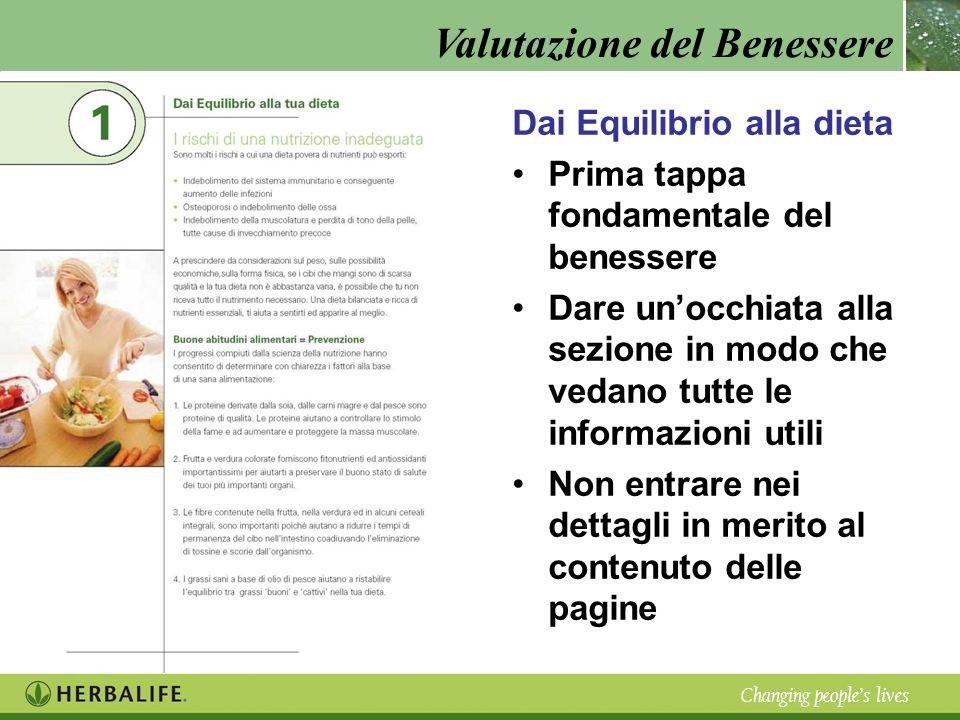 Valutazione del Benessere Changing peoples lives Dai Equilibrio alla dieta Prima tappa fondamentale del benessere Dare unocchiata alla sezione in modo