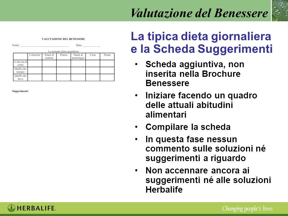 Valutazione del Benessere Changing peoples lives La tipica dieta giornaliera e la Scheda Suggerimenti Scheda aggiuntiva, non inserita nella Brochure B
