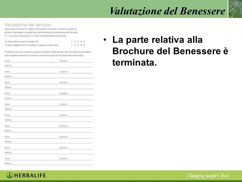 Valutazione del Benessere Changing peoples lives La parte relativa alla Brochure del Benessere è terminata.