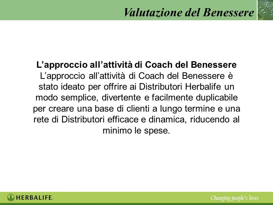 Valutazione del Benessere Changing peoples lives Lapproccio allattività di Coach del Benessere Lapproccio allattività di Coach del Benessere è stato i