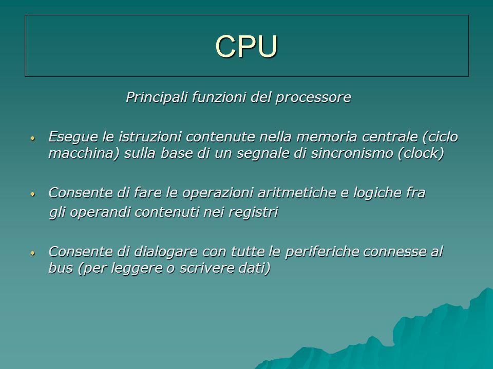 CPU Principali funzioni del processore Principali funzioni del processore Esegue le istruzioni contenute nella memoria centrale (ciclo macchina) sulla