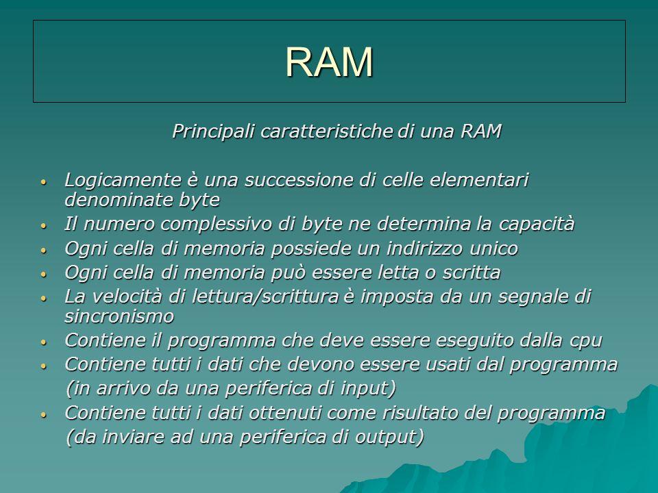 RAM Principali caratteristiche di una RAM Principali caratteristiche di una RAM Logicamente è una successione di celle elementari denominate byte Logi