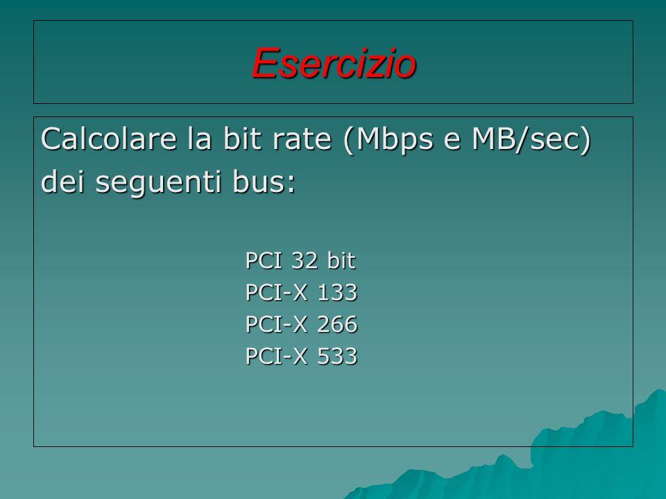 Esercizio Calcolare la bit rate (Mbps e MB/sec) dei seguenti bus: PCI 32 bit PCI 32 bit PCI-X 133 PCI-X 133 PCI-X 266 PCI-X 266 PCI-X 533 PCI-X 533