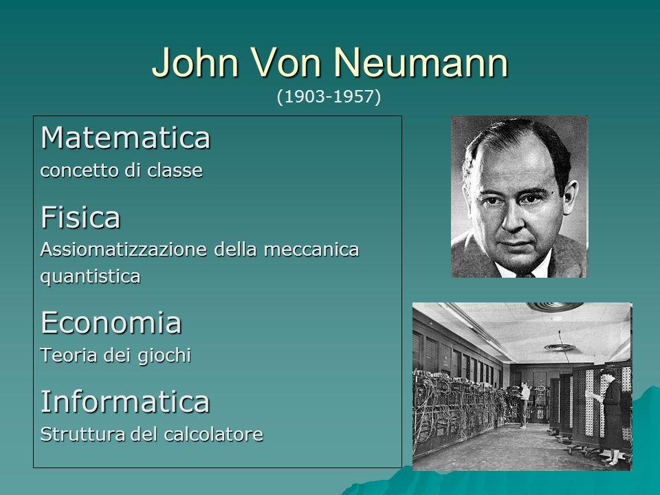 John Von Neumann Matematica concetto di classe Fisica Assiomatizzazione della meccanica quantisticaEconomia Teoria dei giochi Informatica Struttura de