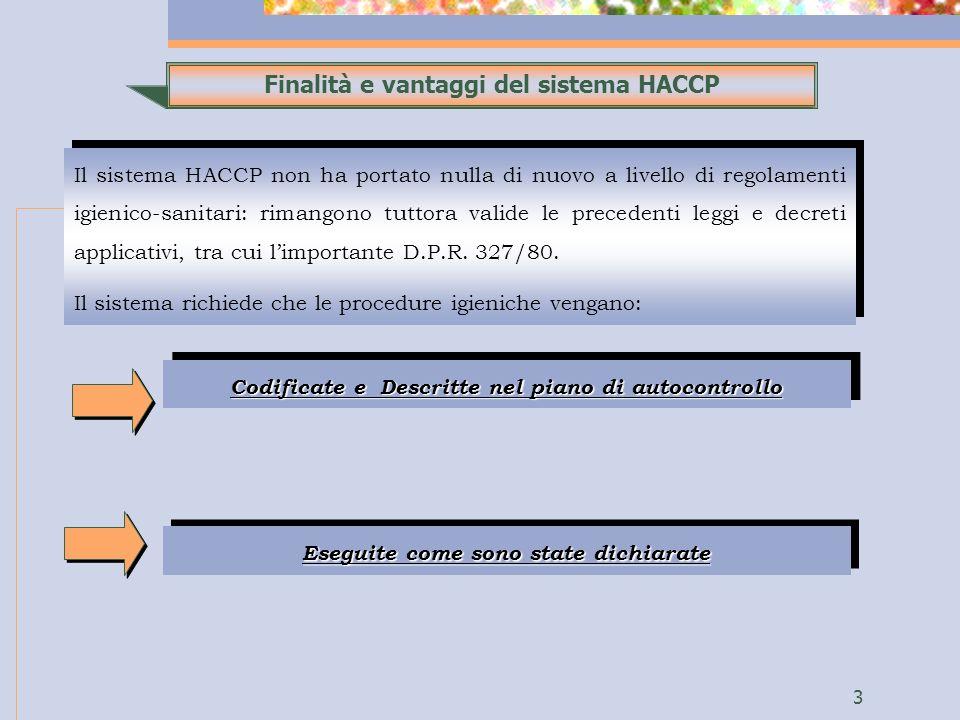 3 Finalità e vantaggi del sistema HACCP Il sistema HACCP non ha portato nulla di nuovo a livello di regolamenti igienico-sanitari: rimangono tuttora valide le precedenti leggi e decreti applicativi, tra cui limportante D.P.R.