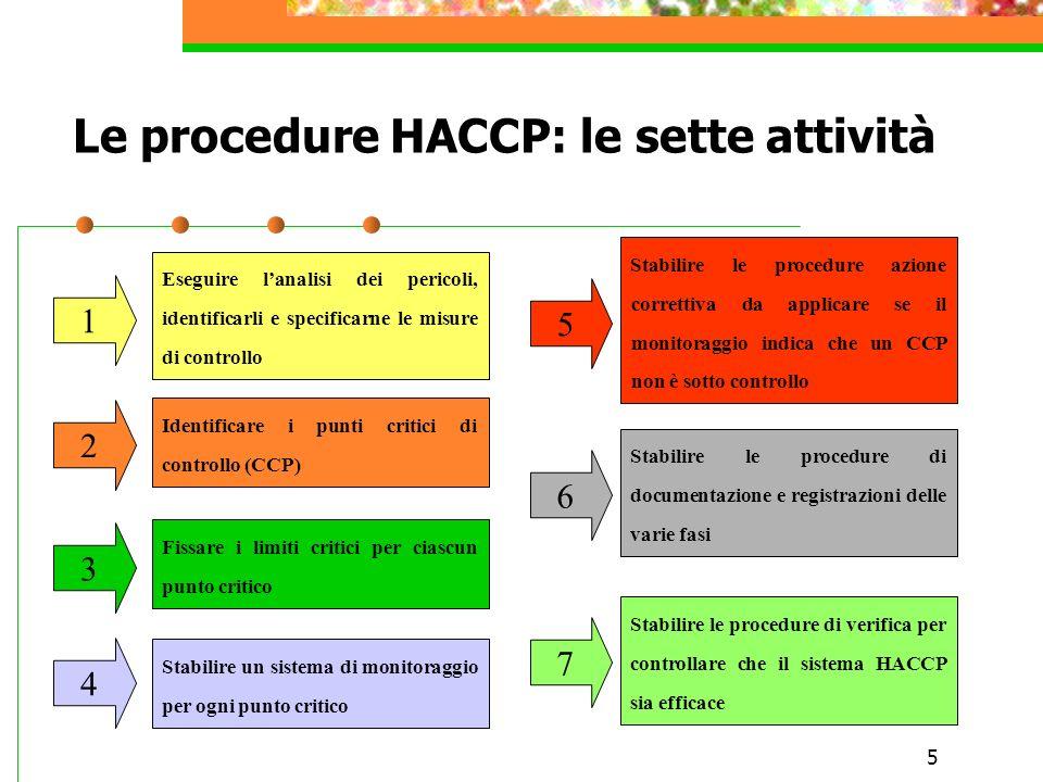 5 Le procedure HACCP: le sette attività 1 3 2 6 7 4 5 Eseguire lanalisi dei pericoli, identificarli e specificarne le misure di controllo Identificare i punti critici di controllo (CCP) Fissare i limiti critici per ciascun punto critico Stabilire le procedure azione correttiva da applicare se il monitoraggio indica che un CCP non è sotto controllo Stabilire un sistema di monitoraggio per ogni punto critico Stabilire le procedure di documentazione e registrazioni delle varie fasi Stabilire le procedure di verifica per controllare che il sistema HACCP sia efficace
