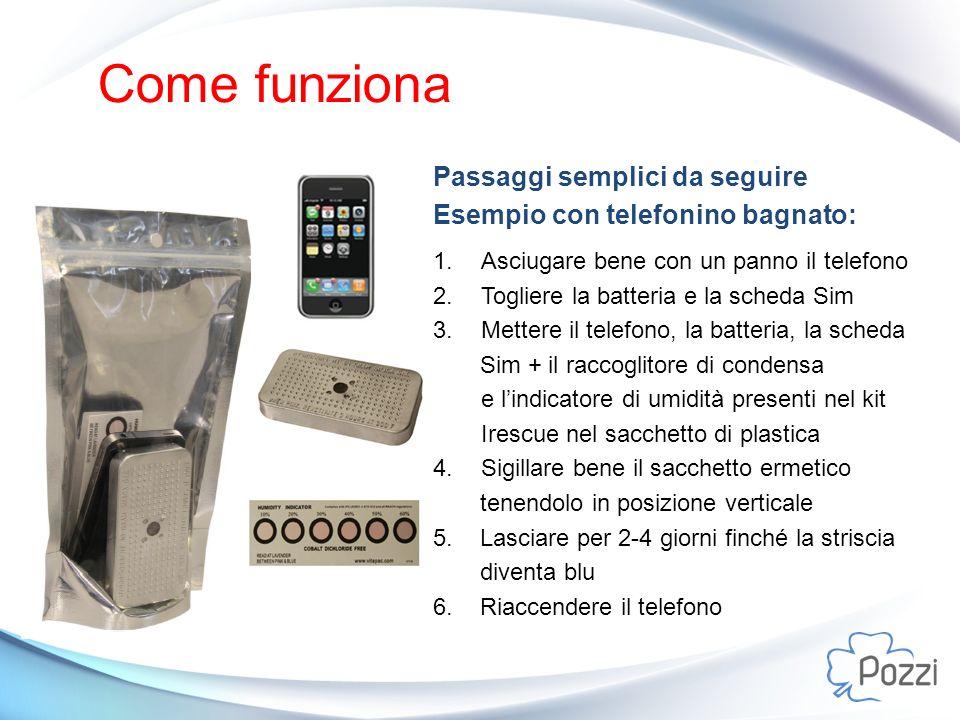 Come funziona Passaggi semplici da seguire Esempio con telefonino bagnato: 1.Asciugare bene con un panno il telefono 2.Togliere la batteria e la sched