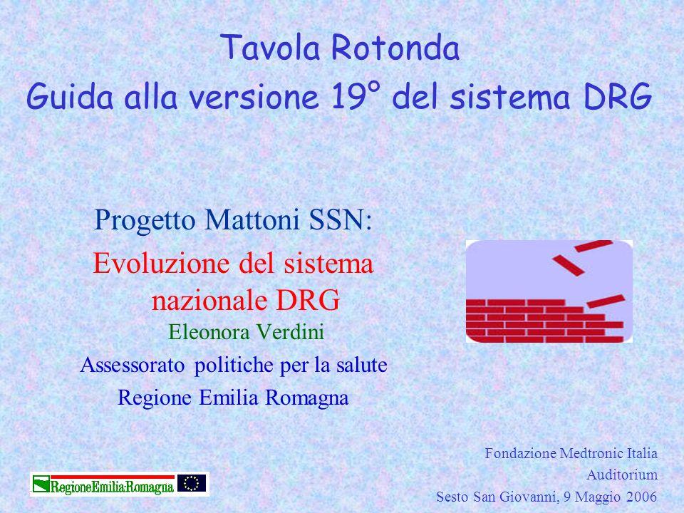 Progetto Mattoni SSN: Evoluzione del sistema nazionale DRG Eleonora Verdini Assessorato politiche per la salute Regione Emilia Romagna Fondazione Medt