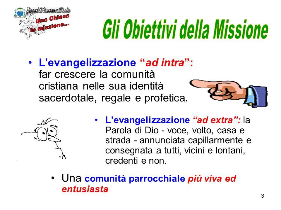 3 Levangelizzazione ad extra: la Parola di Dio - voce, volto, casa e strada - annunciata capillarmente e consegnata a tutti, vicini e lontani, credent