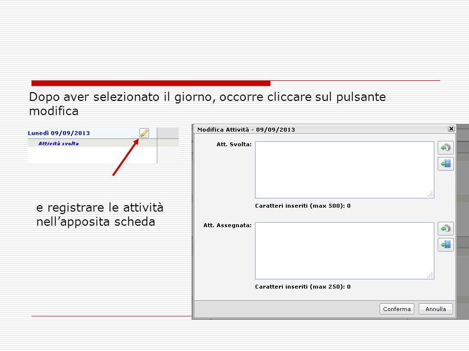 Dopo aver selezionato il giorno, occorre cliccare sul pulsante modifica e registrare le attività nellapposita scheda