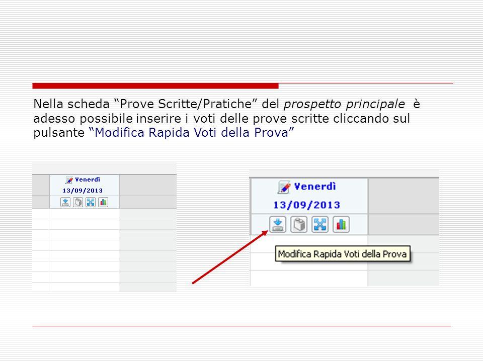 Nella scheda Prove Scritte/Pratiche del prospetto principale è adesso possibile inserire i voti delle prove scritte cliccando sul pulsante Modifica Ra