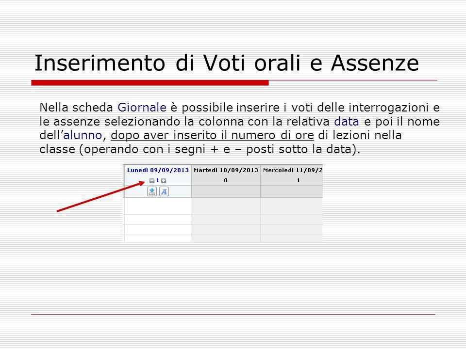 Inserimento di Voti orali e Assenze Nella scheda Giornale è possibile inserire i voti delle interrogazioni e le assenze selezionando la colonna con la
