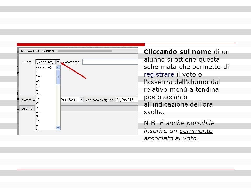 Cliccando sul nome di un alunno si ottiene questa schermata che permette di registrare il voto o lassenza dellalunno dal relativo menù a tendina posto