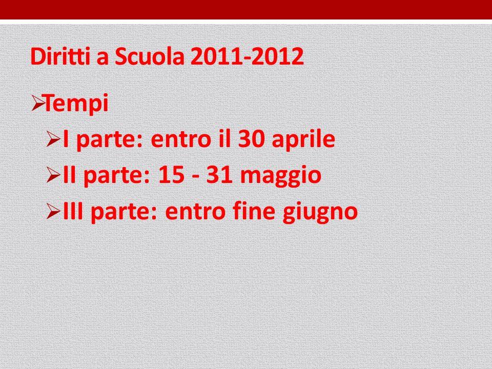 Diritti a Scuola 2011-2012 Tempi I parte: entro il 30 aprile II parte: 15 - 31 maggio III parte: entro fine giugno