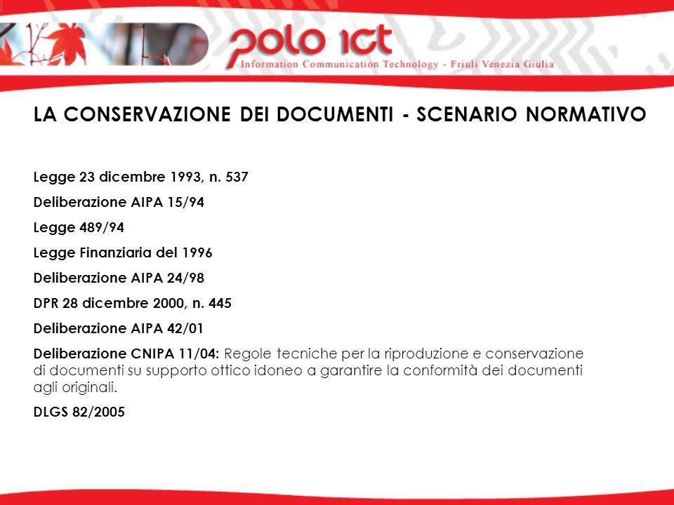 LA CONSERVAZIONE DEI DOCUMENTI - SCENARIO NORMATIVO Legge 23 dicembre 1993, n.