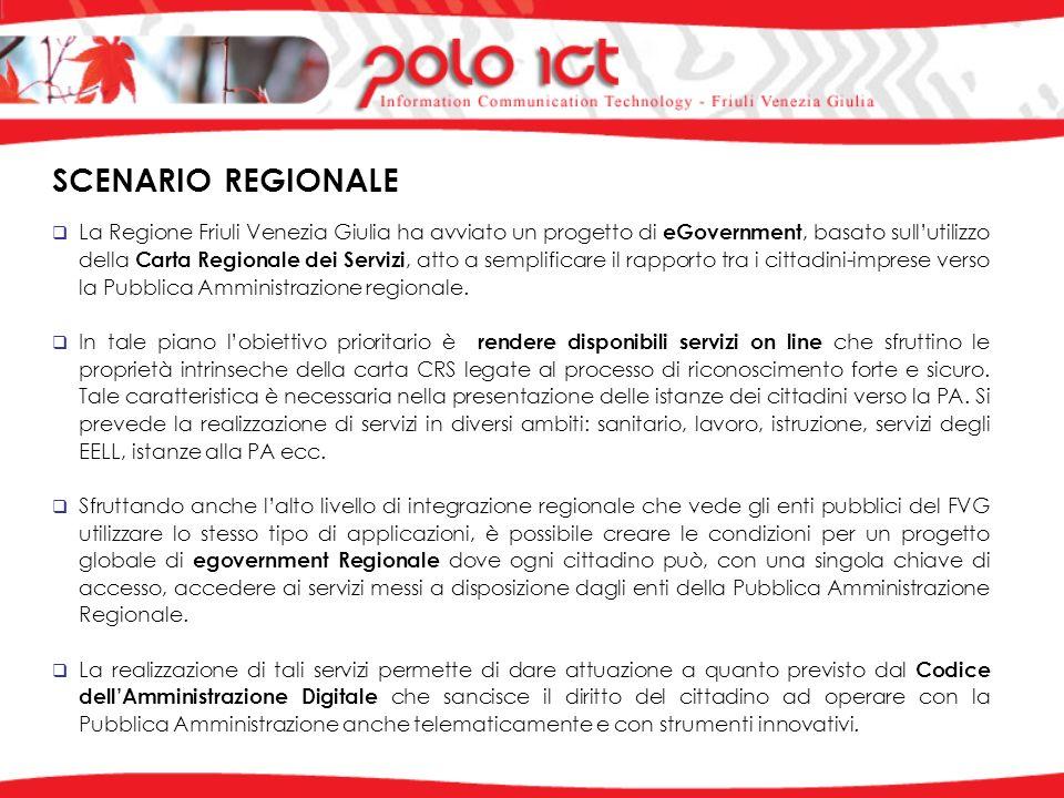 SCENARIO REGIONALE La Regione Friuli Venezia Giulia ha avviato un progetto di eGovernment, basato sullutilizzo della Carta Regionale dei Servizi, atto a semplificare il rapporto tra i cittadini-imprese verso la Pubblica Amministrazione regionale.