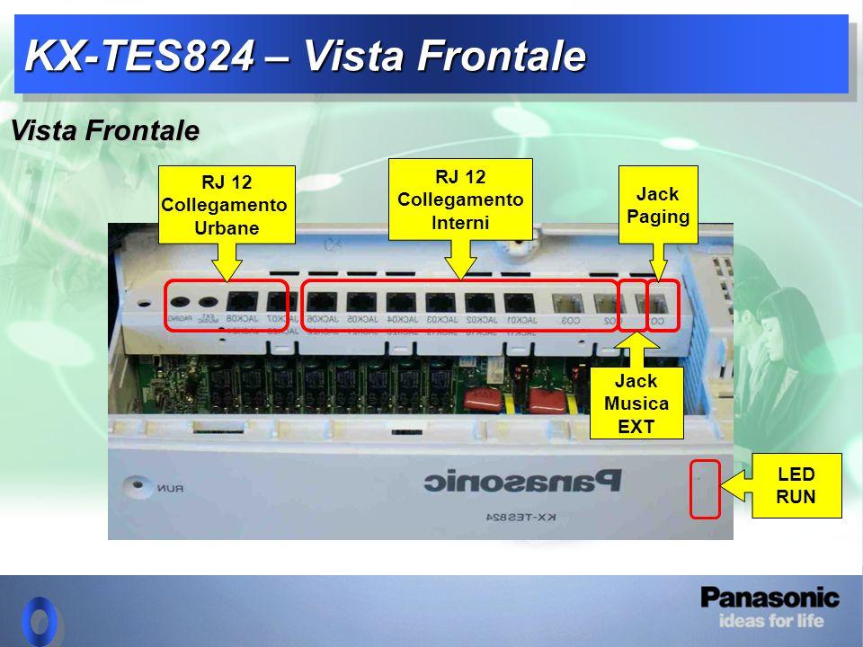 KX-TES824 – Vista Frontale Jack Musica EXT RJ 12 Collegamento Urbane RJ 12 Collegamento Interni Jack Paging LED RUN Vista Frontale