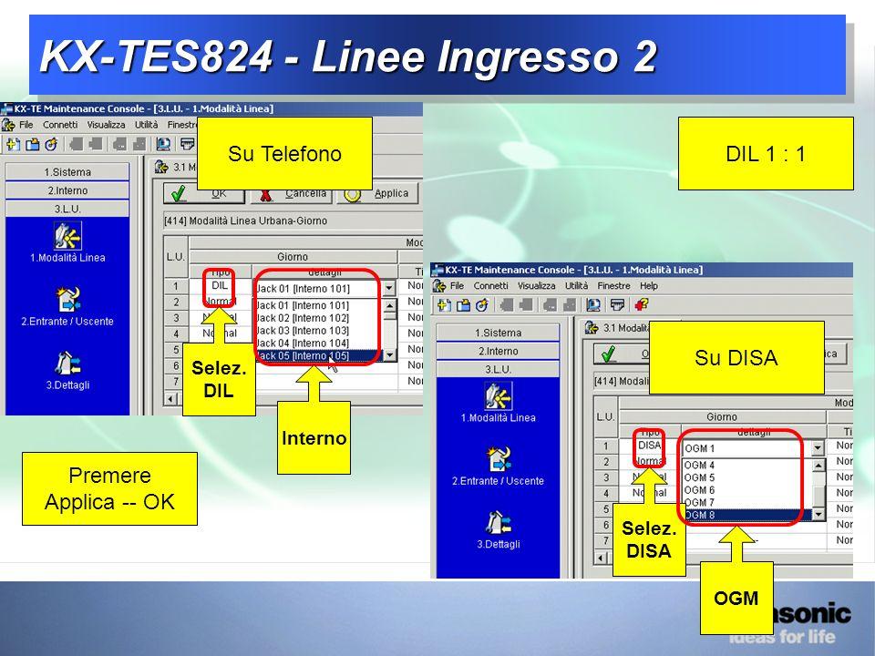 KX-TES824 - Linee Ingresso 2 Selez.DIL DIL 1 : 1Su Telefono Su DISA Interno Selez.