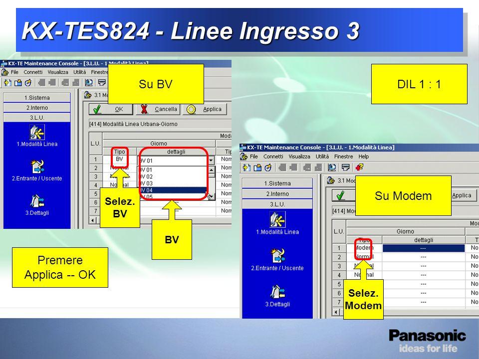 KX-TES824 - Linee Ingresso 3 DIL 1 : 1Su BV Selez. BV Su Modem Selez. Modem Premere Applica -- OK