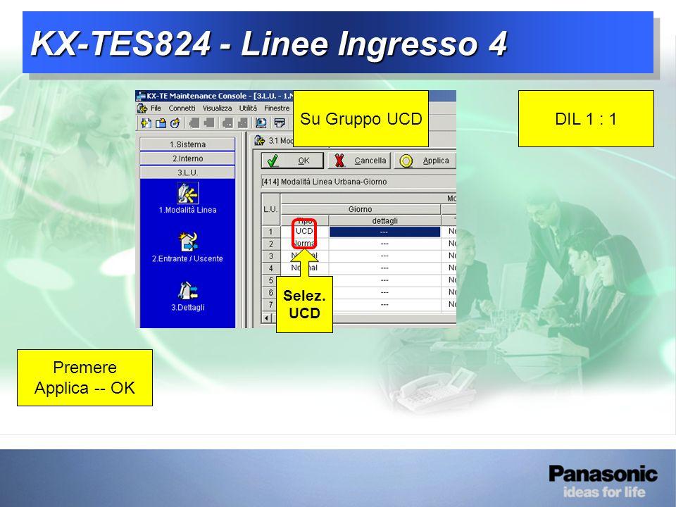 KX-TES824 - Linee Ingresso 4 Su Gruppo UCDDIL 1 : 1 Premere Applica -- OK Selez. UCD