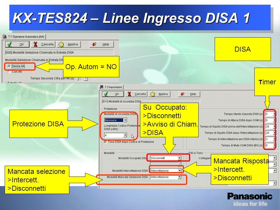 KX-TES824 – Linee Ingresso DISA 1 DISA Su Occupato: >Disconnetti >Avviso di Chiam.