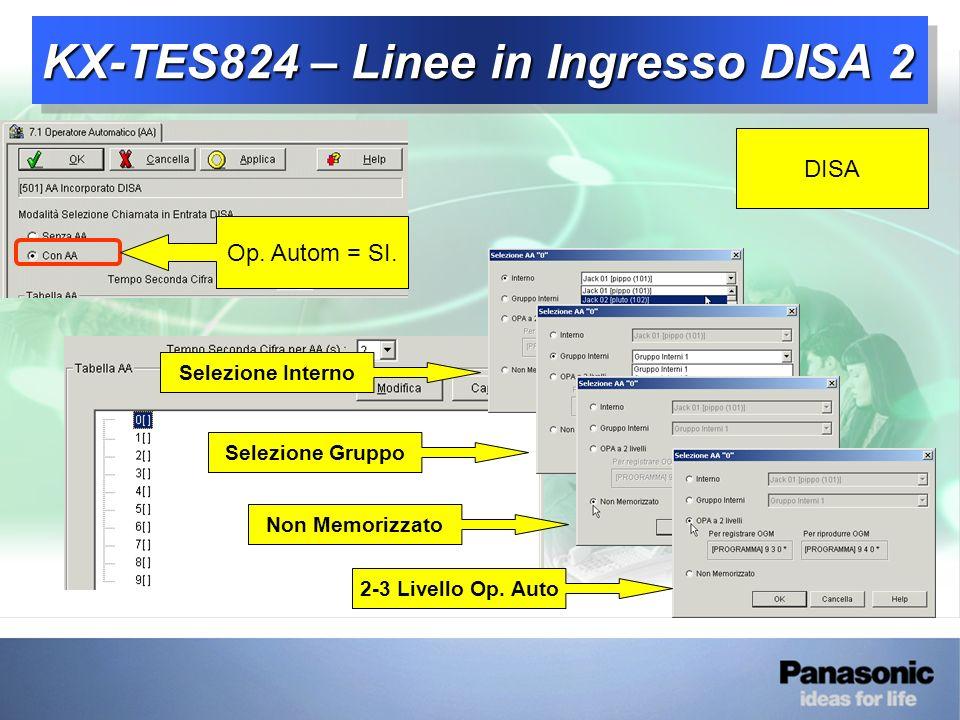 KX-TES824 – Linee in Ingresso DISA 2 DISA Op.Autom = SI.