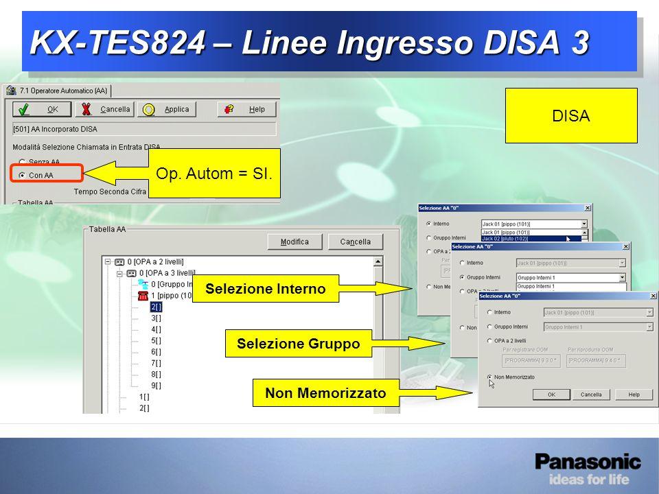 KX-TES824 – Linee Ingresso DISA 3 DISA Op.Autom = SI.