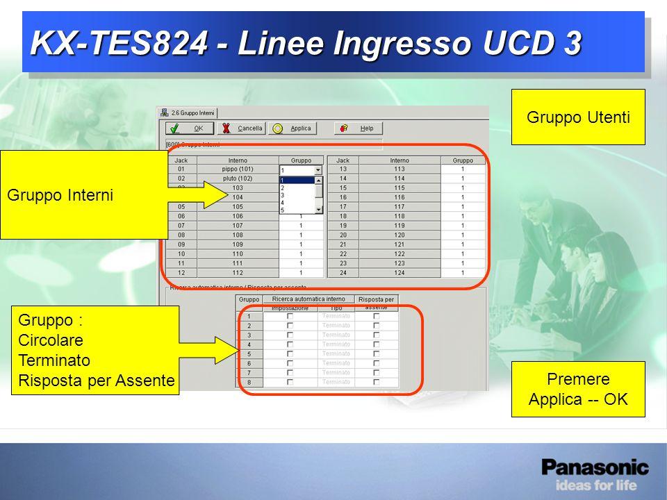 KX-TES824 - Linee Ingresso UCD 3 Gruppo Utenti Gruppo Interni Gruppo : Circolare Terminato Risposta per Assente Premere Applica -- OK