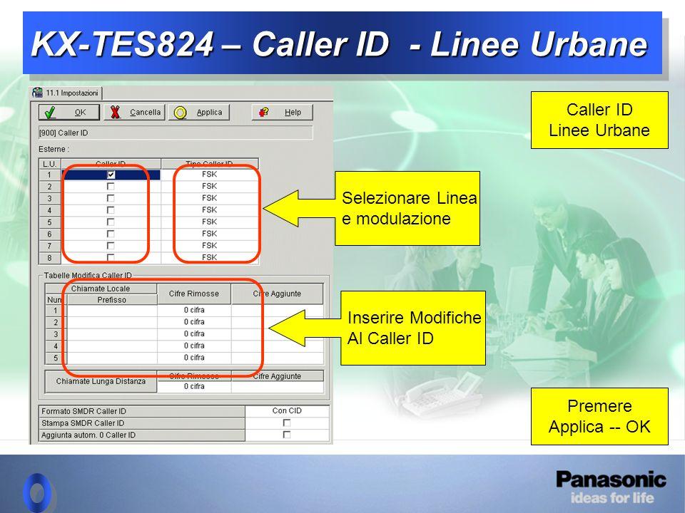KX-TES824 – Caller ID - Linee Urbane Caller ID Linee Urbane Premere Applica -- OK Selezionare Linea e modulazione Inserire Modifiche Al Caller ID