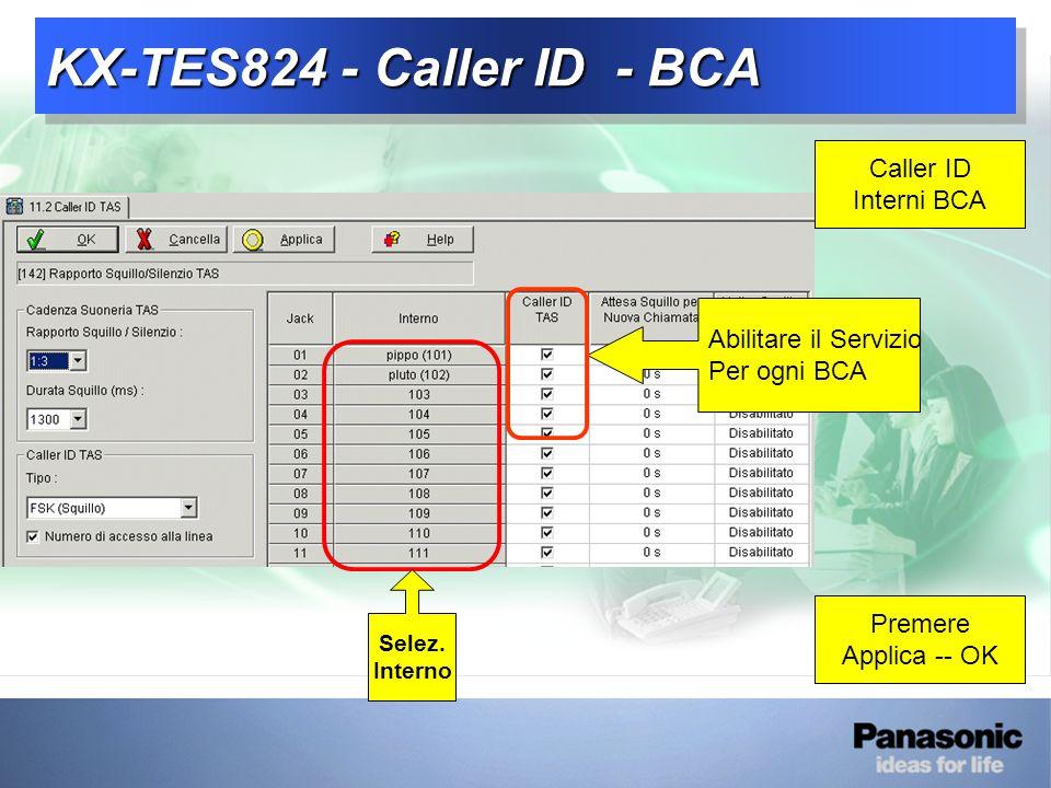 KX-TES824 - Caller ID - BCA Caller ID Interni BCA Premere Applica -- OK Abilitare il Servizio Per ogni BCA Selez.