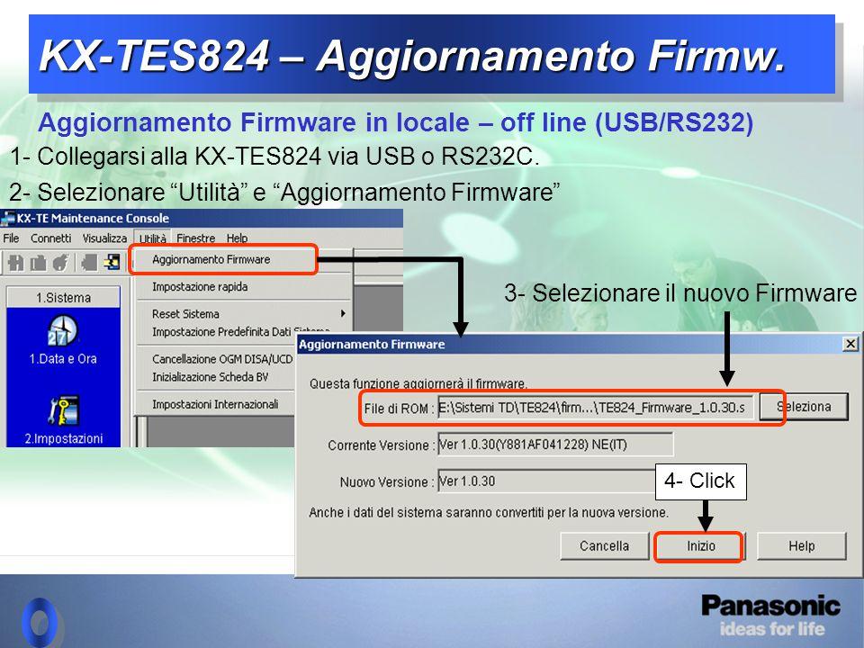 KX-TES824 – Aggiornamento Firmw.