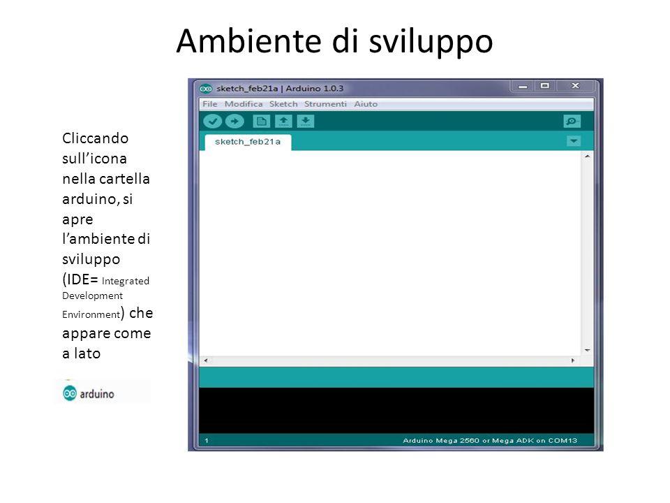 Ambiente di sviluppo Cliccando sullicona nella cartella arduino, si apre lambiente di sviluppo (IDE= Integrated Development Environment ) che appare c