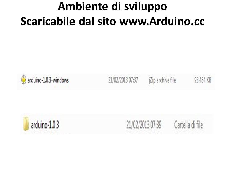 Ambiente di sviluppo Scaricabile dal sito www.Arduino.cc