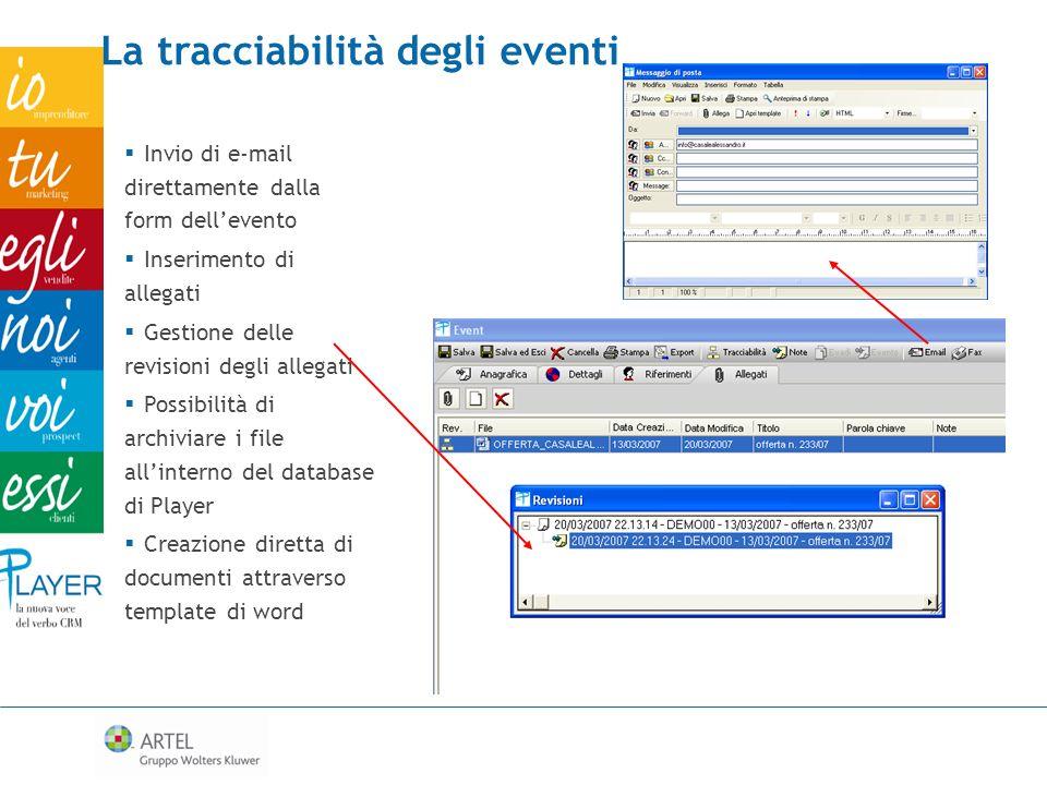 La tracciabilità degli eventi Invio di e-mail direttamente dalla form dellevento Inserimento di allegati Gestione delle revisioni degli allegati Possi