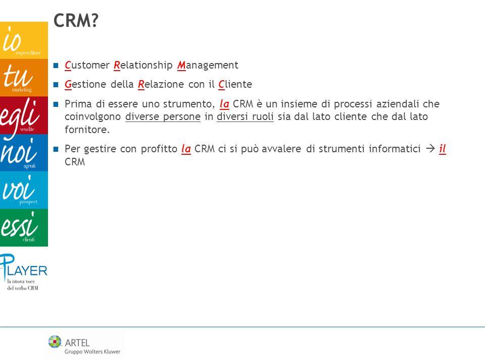 CRM? Customer Relationship Management Gestione della Relazione con il Cliente Prima di essere uno strumento, la CRM è un insieme di processi aziendali