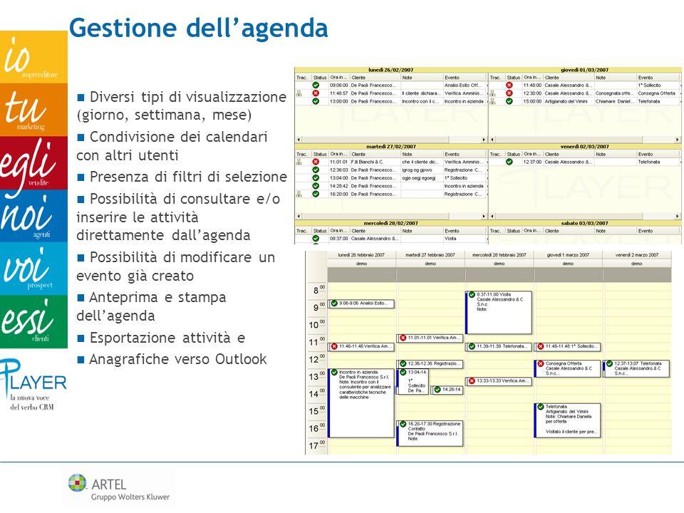 Gestione dellagenda Diversi tipi di visualizzazione (giorno, settimana, mese) Condivisione dei calendari con altri utenti Presenza di filtri di selezi