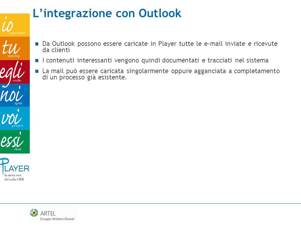 Lintegrazione con Outlook Da Outlook possono essere caricate in Player tutte le e-mail inviate e ricevute da clienti I contenuti interessanti vengono