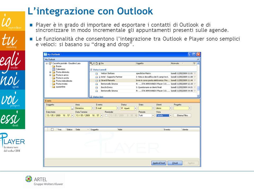 Lintegrazione con Outlook Player è in grado di importare ed esportare i contatti di Outlook e di sincronizzare in modo incrementale gli appuntamenti p