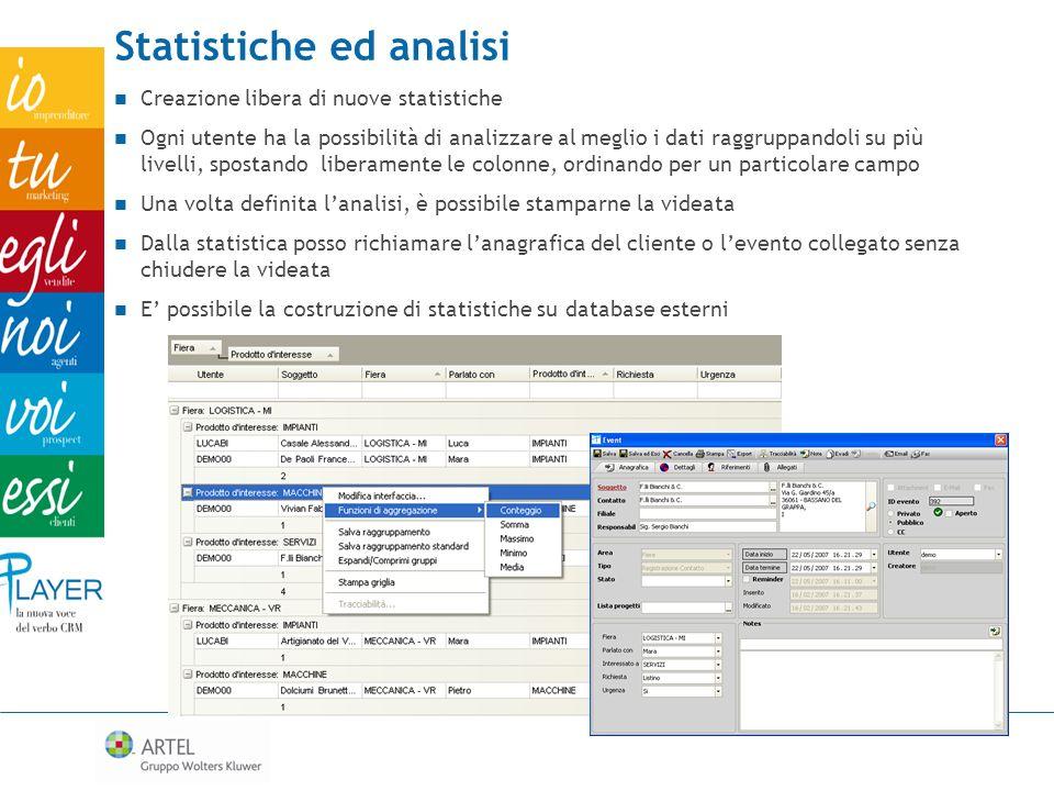 Statistiche ed analisi Creazione libera di nuove statistiche Ogni utente ha la possibilità di analizzare al meglio i dati raggruppandoli su più livell