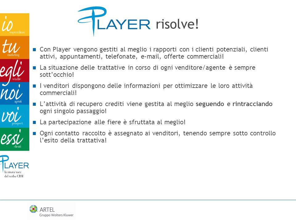 Con Player vengono gestiti al meglio i rapporti con i clienti potenziali, clienti attivi, appuntamenti, telefonate, e-mail, offerte commerciali! La si