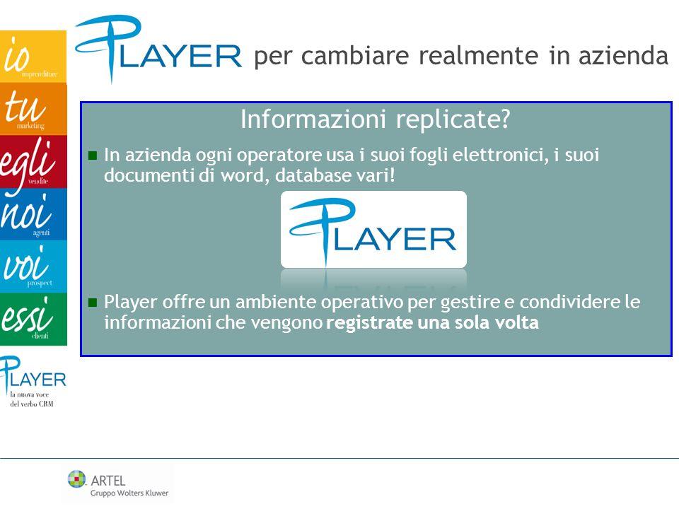 Informazioni replicate? In azienda ogni operatore usa i suoi fogli elettronici, i suoi documenti di word, database vari! Player offre un ambiente oper