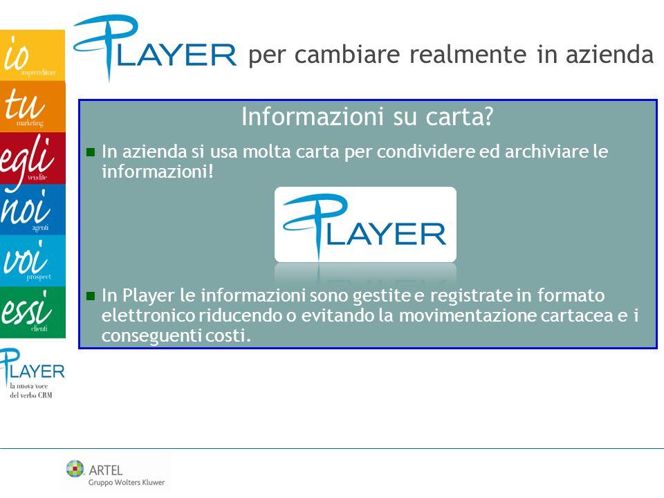 per cambiare realmente in azienda Informazioni su carta? In azienda si usa molta carta per condividere ed archiviare le informazioni! In Player le inf