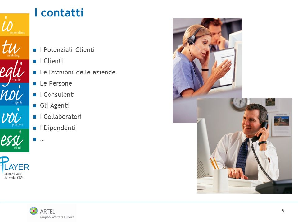 I contatti I Potenziali Clienti I Clienti Le Divisioni delle aziende Le Persone I Consulenti Gli Agenti I Collaboratori I Dipendenti … 8